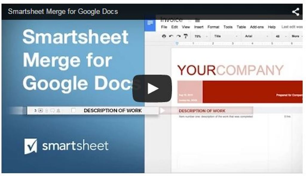 Smartsheet Merge for Google Docs